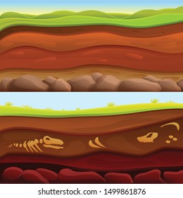 Soil ground banner set. Cartoon illustration of soil ground vector banner set for web design