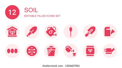 soil icon set. Collection of 12 filled soil icons included Greenhouse, Shovel, Watering can, Auger, Seeds, Terra, Sand, Gardening, Fertilizer
