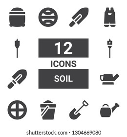 soil icon set. Collection of 12 filled soil icons included Watering can, Shovel, Sand, Terra, Auger, Gardening, Seeds