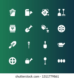 soil icon set. Collection of 16 filled soil icons included Seeds, Shovel, Watering can, Terra, Auger, Gardening, Fertilizer, Sand