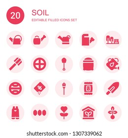 soil icon set. Collection of 20 filled soil icons included Watering can, Garden, Shovel, Terra, Seeds, Seed, Auger, Gardening, Greenhouse