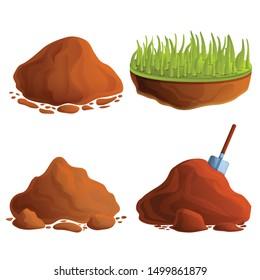 Soil icons set. Cartoon set of soil vector icons for web design