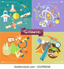 Soil Layers with dinosaur fossil. Space and astronomy. Physics energy. Laboratory workspace and workplace concept. Chemistr physics, biology. Concept in flat design cartoon style on stylish background