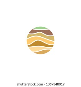 soil layers geology logo icon vector