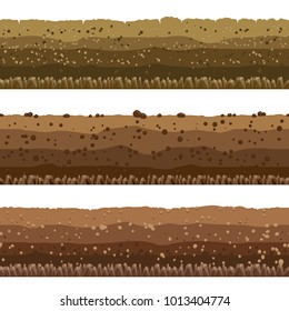 Soil layers. Seamless underground earth surface, dirts layers or layered clay with rocks vector illustration
