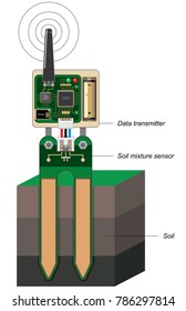 Soil mixture sensor design abstract. Technical illustration of Wireless electronic device for plants watering control, farm automation, component of modern smart holticulture technologies. Vector