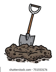 soil and shovel / cartoon vector and illustration, hand drawn style, isolated on white background.