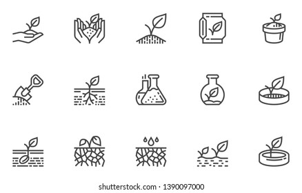 Soil Vector Line Icons Set. Growing Sprouts, Agronomy, Sprout nutrition, Growing Conditions. Editable Stroke. 48x48 Pixel Perfect.