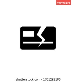 Soiled black broken plastic card icon, simple failed commercial bankruptcy error flat design infographic pictogram vector, for app logo web button ui ux interface elements isolated on white background