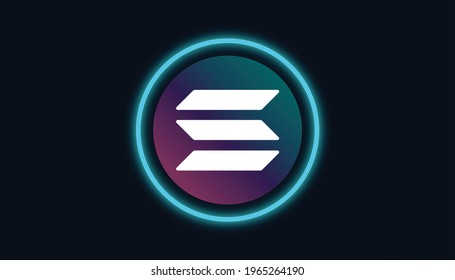 Solana logo with crypto currency themed circle black background design. Modern neon color banner for SOL token icon. Solana Cryptocurrency Blockchain technology concept.