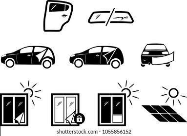 Solar and automotive service. Icons for design. Vector