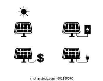 The solar battery generates energy, it stands on the ground, black. Flat style vector illustration clipart.