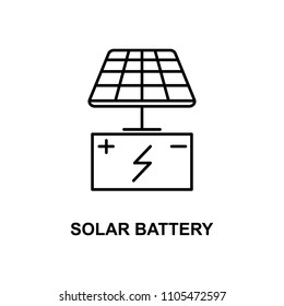 solar battery icon. Element of technologies icon with name for mobile concept and web apps. Thin line solar battery icon can be used for web and mobile. Premium icon on white background