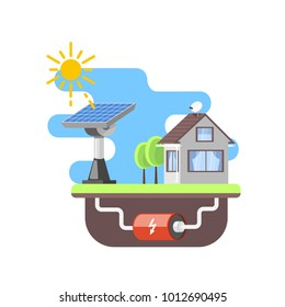 solar battery provides residential private house with electricity