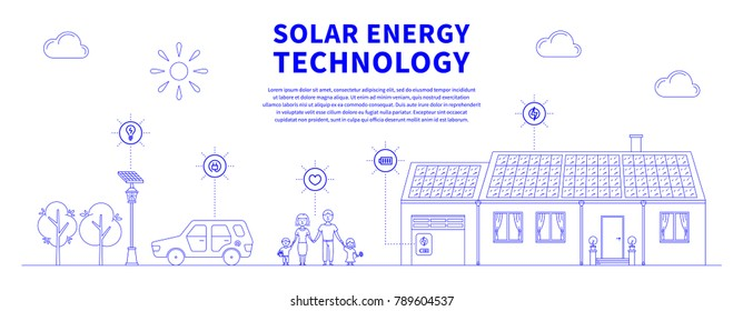 Solar battery system colorful vector illustration. Eco power source line art concept. House, family, car and solar electricity system graphic design with sample text.