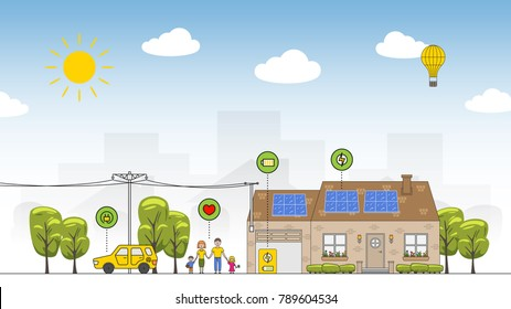 Solar battery system vector illustration. Eco power source line art concept. House, family, car and solar electricity system graphic design.