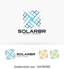 Solar Bright, energy, electrical, power. Vector logo template