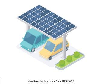 solar cell car park isometric vector