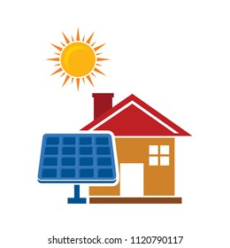 solar cell - house and sun icon. panel symbol - renewable resource