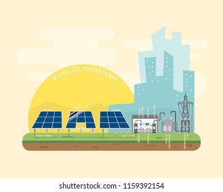 solar cell power plant with solar cell generate the electric