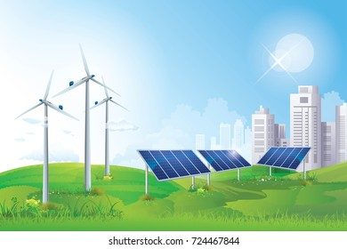 Solar Cell and Wind Turbine vector art illustration, Eco green city, Modern energy safety. Ecology concept