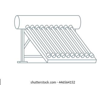 Solar collector. Hot Water System. Line design vector illustration