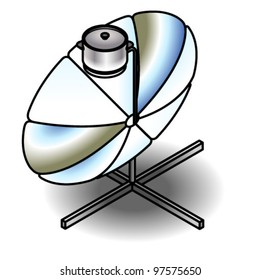 A solar cooker with a (removable) stainless steel pot.