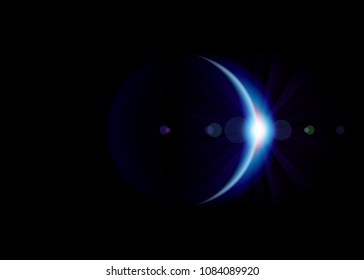 Solar eclipse. Blue planet with blazing edge