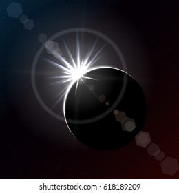 Solar eclipse in dark space, diamond ring phase. Vector illustration.