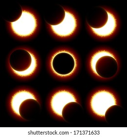 Solar Eclipse phases. Vector.