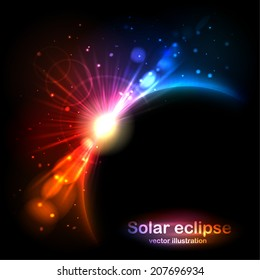 Solar Eclipse. Radiance and glow in the sky. Vector illustration can be used for web design, wallpapers, futuristic designs and banners.