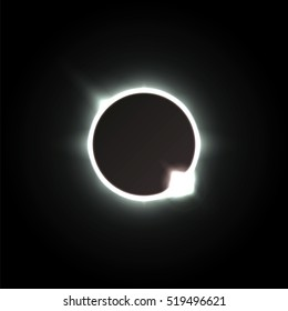 Solar eclipse. Vector illustration. Shadow of the moon, and the aura of solar corona. Astronomical design. Radial glow in the night sky. Futuristic wallpaper or background.