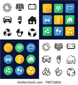 Solar Energy All in One Icons Black & White Color Flat Design Freehand Set