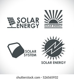 Solar energy company logo set isolated on white background. Sun power concept vector signs.