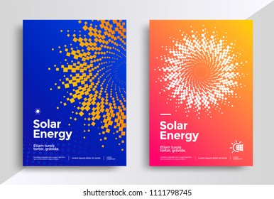 Solar energy cover design template. Eco power poster with the stylized graphics sun. Vector illustration