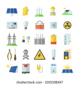 Solar energy equipment icons set. Flat illustration of 25 solar energy equipment vector icons for web
