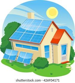 solar energy house cartoon illustration