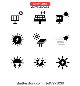 solar energy icon or logo isolated sign symbol vector illustration - Collection of high quality black style vector icons