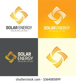 Solar Energy Icon and Logo. Vector Illustration.