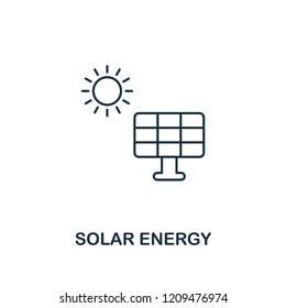 Solar Energy icon outline style. Premium pictogram design from power and energy icons collection. Simple thin line element. Solar Energy icon for web design, mobile apps and printing usage.