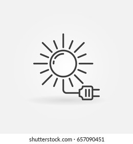 Solar energy icon - vector sun with socket concept symbol or design element in thin line style
