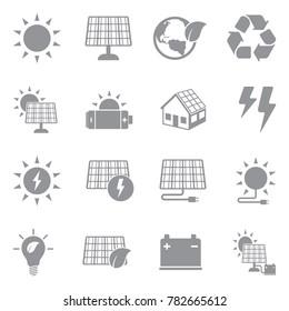 Solar Energy Icons. Gray Flat Design. Vector Illustration.