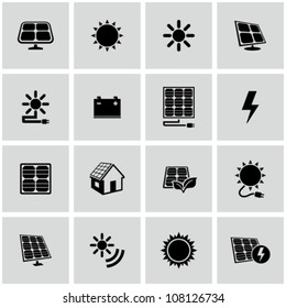 Solar energy icons set.