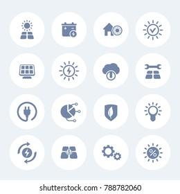 Solar energy icons set on white, sun powered alternative energetics, green electricity