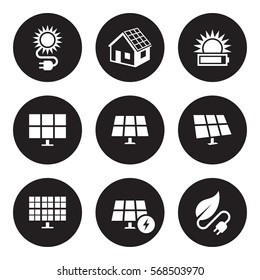 Solar energy icons set. White on a black background