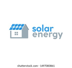 Solar energy logo design template with house and solar cell on the roof