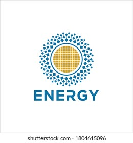 Solar energy logo design template. solar technology logo design on white background