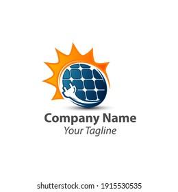 solar energy logo design template, vector icon Illustration.EPS 10