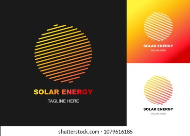 solar energy logo set modern gradient style isolated on background for eco company, travel logotype, tag, natural energy symbol, stamp, t shirt, banner, emblem. Sun icon. Vector Illustration 10 eps