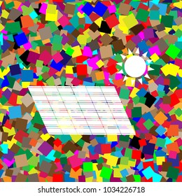 Solar energy panel. Eco trend concept sign. Vector. White icon on colorful background with seamless pattern from squares.
